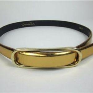 OSCAR de la RENTA: Metallic Gold Leather Belt